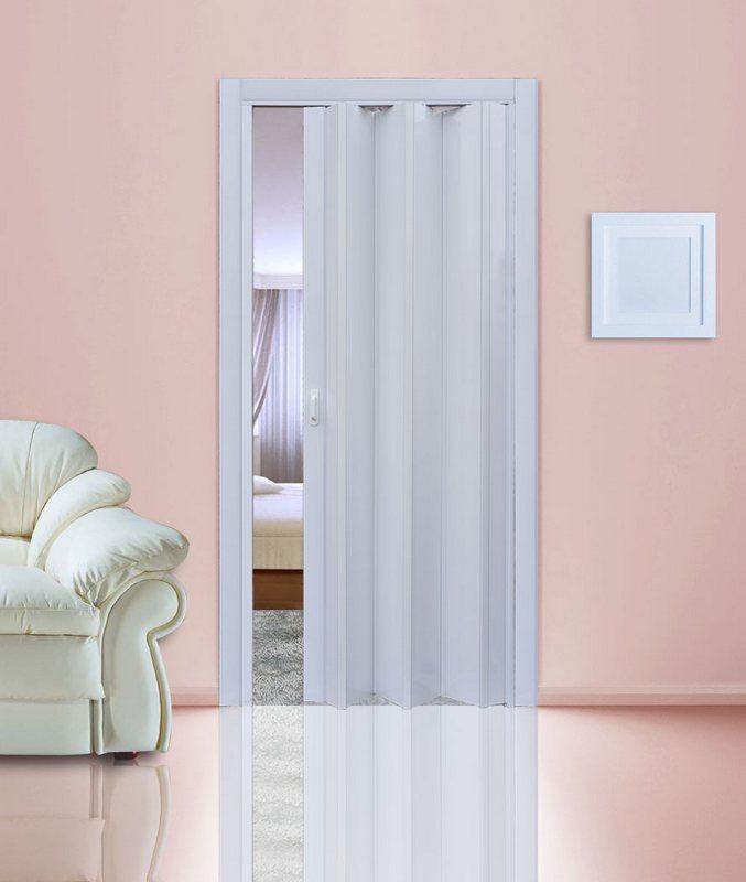 Белый глянец. Дверь гармошка ПВХ