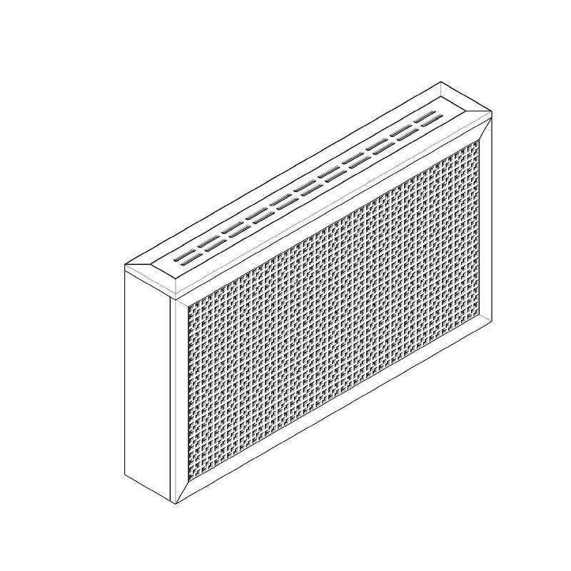 Дамаско белый. Экран с коробом для радиаторов 1200х600×170 мм.