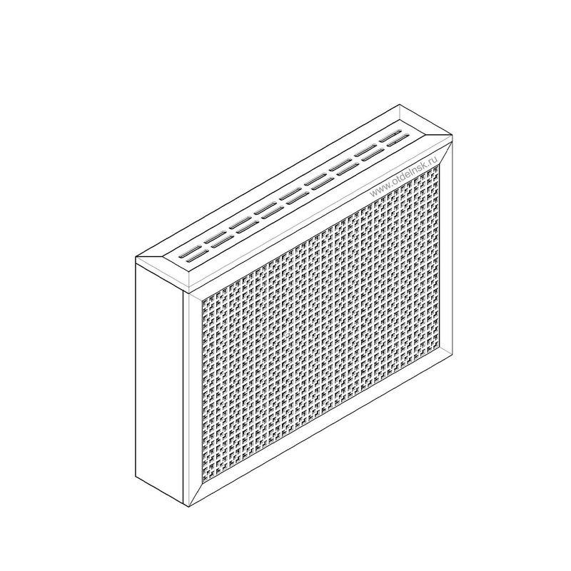 Дамаско белый. Экран с коробом для радиаторов 900х600×170 мм.