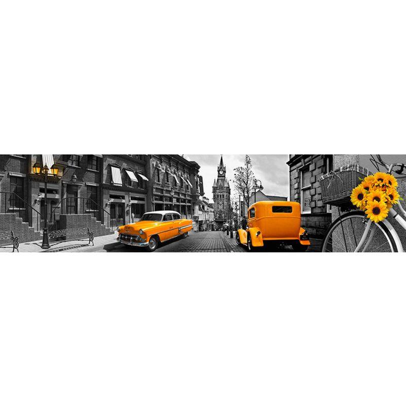153 КП Жёлтые авто. Фартук для кухни пластиковый. 3 метра