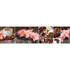 16 КП Кофе, орхидеи - коллаж. Фартук для кухни пластиковый. 3 метра