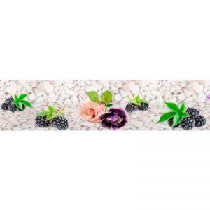 177 Цветы и камушки. Фартук для кухни пластиковый. 3 метра