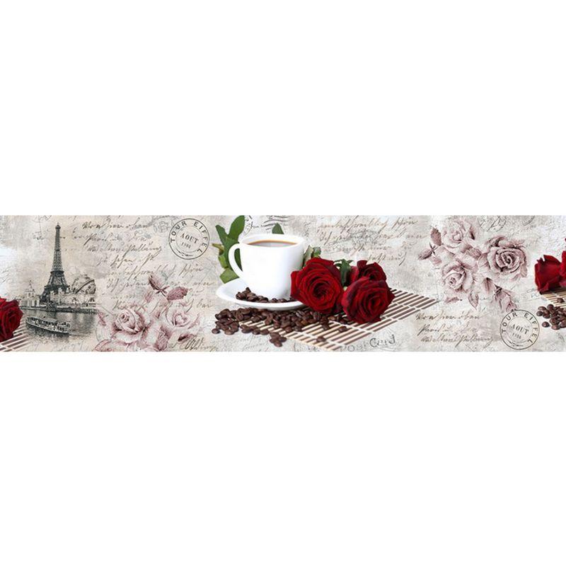 2359 КП Розы и кофе. Фартук для кухни пластиковый. 3 метра