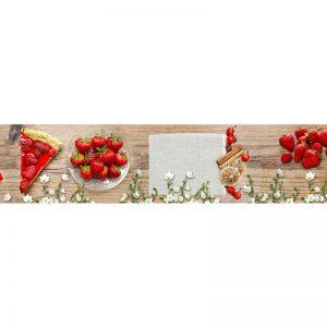 449 КП Клубника. Фартук для кухни пластиковый. 3 метра