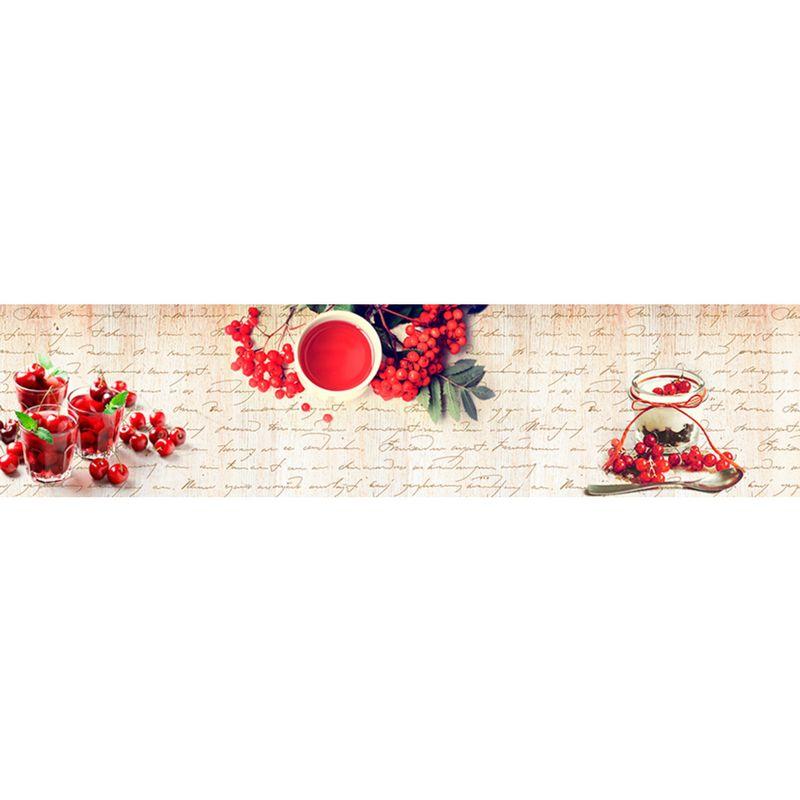 460 КП Красные ягоды. Фартук для кухни пластиковый. 3 метра