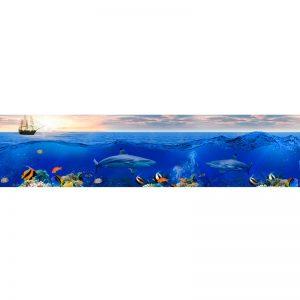 680 КП Корабли в океане. Фартук для кухни пластиковый. 3 метра