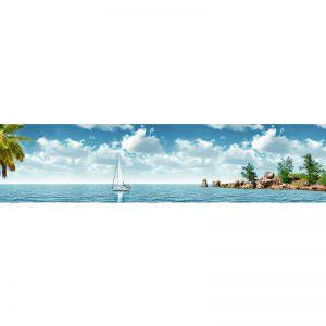 723 КП Острова с парусником. Фартук для кухни пластиковый. 3 метра