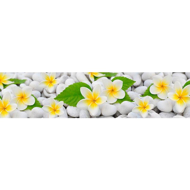 768 КП Цветы на камнях. Фартук для кухни пластиковый. 3 метра