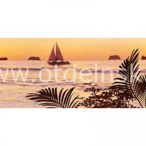 136 Море, пальмы, парусник. Фартук для кухни МДФ. 2,8 метра