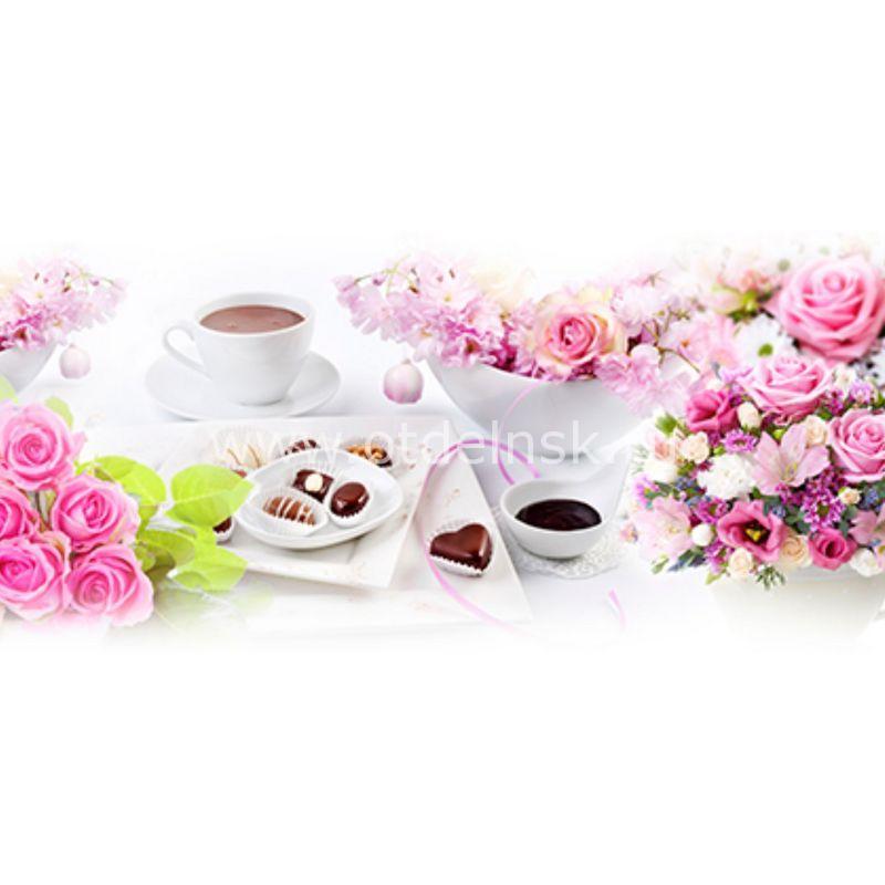 261 Розы, кофе. Фартук для кухни МДФ. 2,8 метра