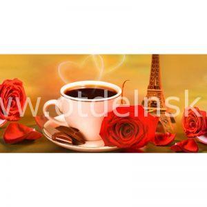 269 Розы, кофе, башня. Фартук для кухни МДФ. 2,8 метра