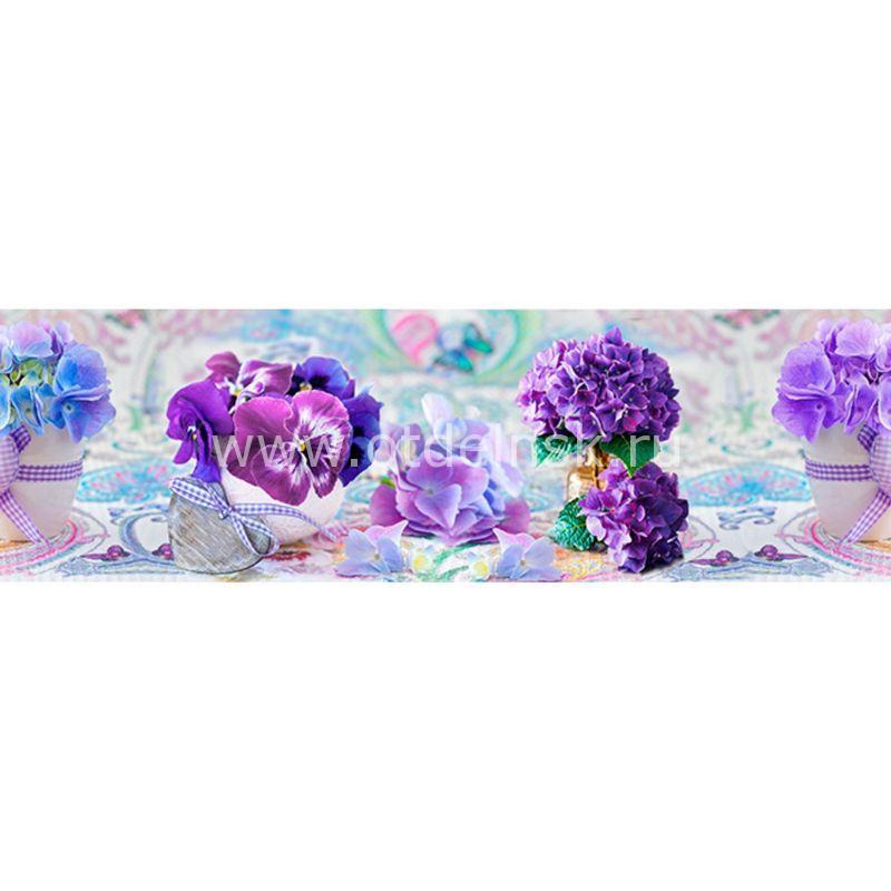 307 Цветы, вазочки. Фартук для кухни МДФ. 2,8 метра