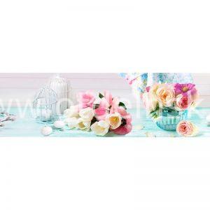 309 Розы, тюльпаны. Фартук для кухни МДФ. 2,8 метра