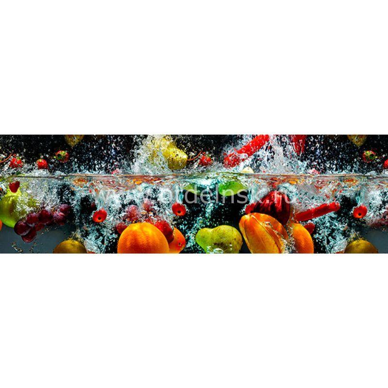 334 Фрукты в воде. Фартук для кухни МДФ. 2,8 метра