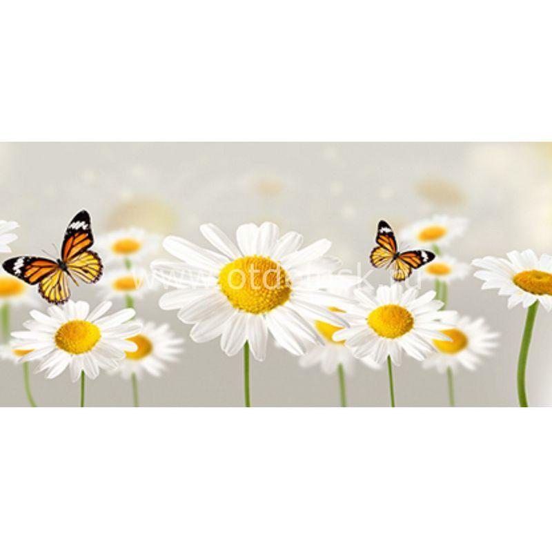 33 Бабочка, ромашки. Фартук для кухни МДФ. 2,8 метра