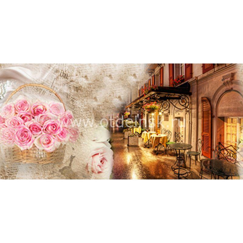 36 Розы, кафе, улочка. Фартук для кухни МДФ. 2,8 метра