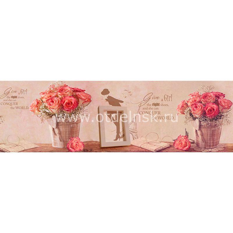432 Розы, рамки. Фартук для кухни МДФ. 2,8 метра
