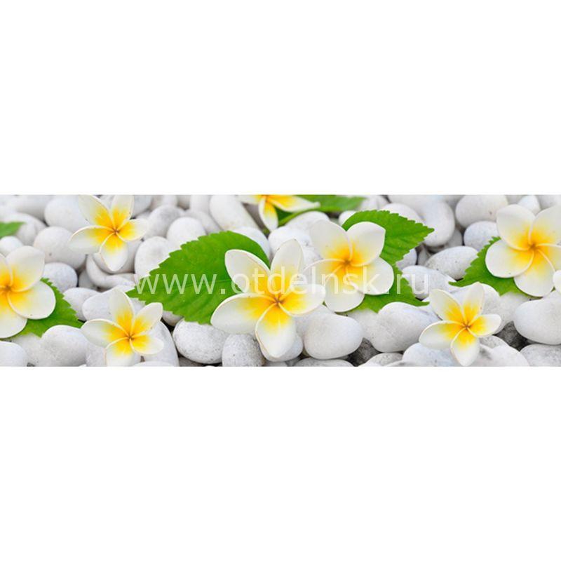 768 Белые цветы. Фартук для кухни МДФ. 2,8 метра