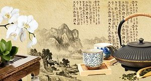 90 Чайная церемония. Фартук для кухни МДФ. 2,8 метра