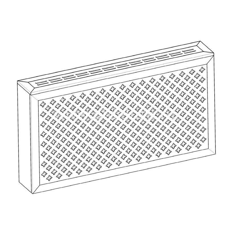 Готико белый. Экран с коробом для радиаторов 1200х600×170 мм.