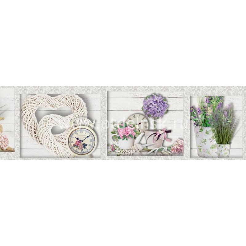 2648 Цветы, часы. Фартук для кухни МДФ. 2,8 метра