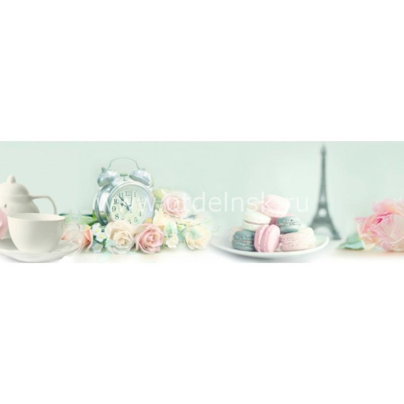 4255 Башенка, будильник, розы. Фартук для кухни МДФ. 2,8 метра