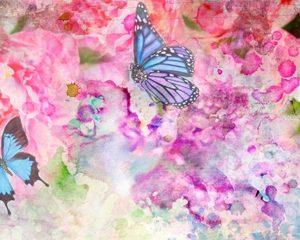 3397 Цветы, бабочки. Фартук для кухни МДФ. 2,8 метра
