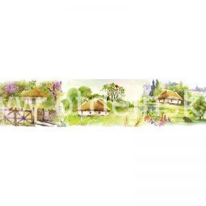 1438 Живопись, домики. Фартук для кухни МДФ. 2,8 метра