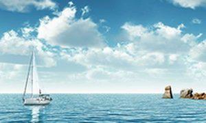 723 Море, парусник. Фартук для кухни МДФ. 2,8 метра