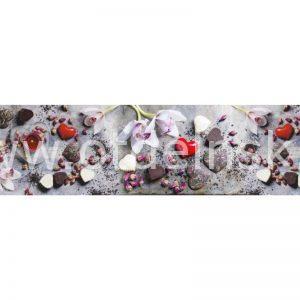 0793 Цветы, свечи. Фартук для кухни МДФ. 2,8 метра