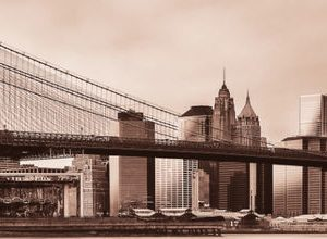 0905 Город, мост. Фартук для кухни МДФ. 2,8 метра