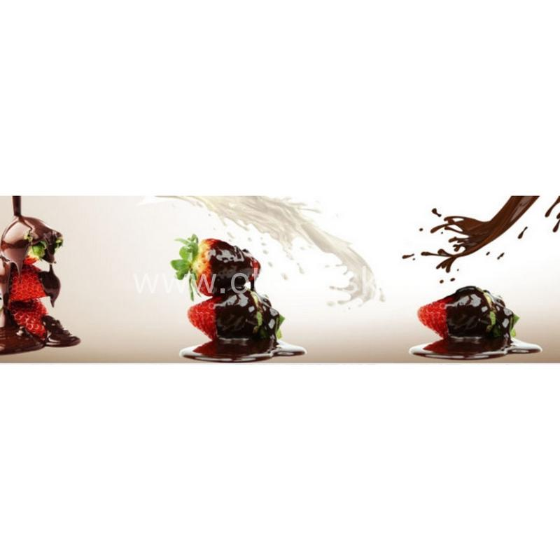 0951 Клубника, шоколад. Фартук для кухни МДФ. 2,8 метра