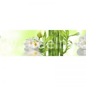 6544 Бамбук, цветы. Фартук для кухни МДФ. 2,8 метра