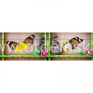 7782 Бамбук, спа, бабочки. Фартук для кухни МДФ. 2,8 метра