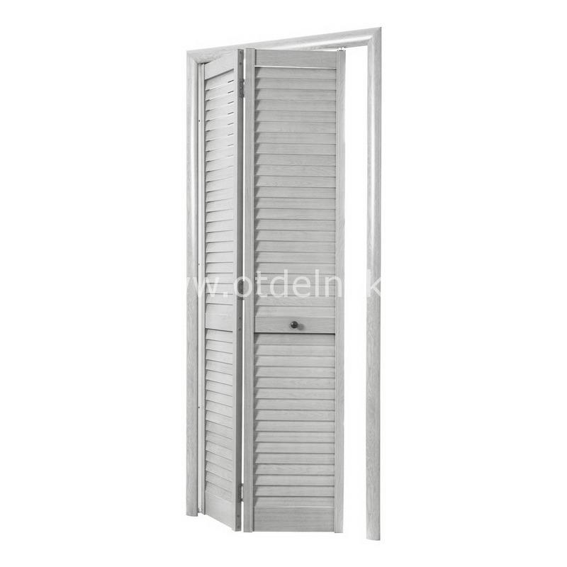 Дверь гармошка жалюзийная из ПВХ Ясень серый 2005 Х 810 мм