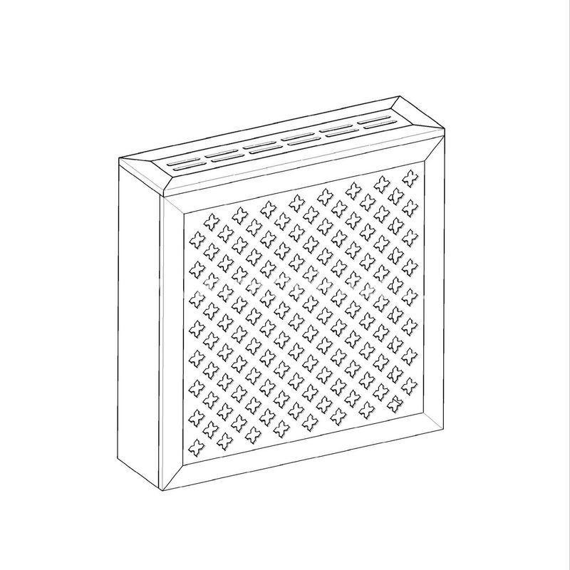 Готико белый. Экран с коробом для радиаторов 600х600×170 мм.