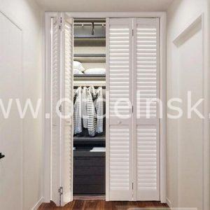 Дверь гармошка жалюзийная из ПВХ Белый 2005 Х 1208 мм