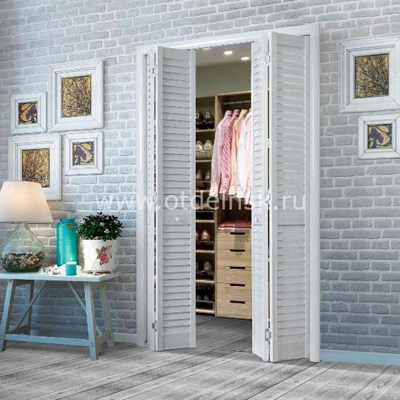 Дверь гармошка жалюзийная из ПВХ Ясень серый 2005 Х 1208 мм