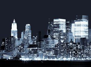 9299 Ночной город. Фартук для кухни пластиковый. 3 метр