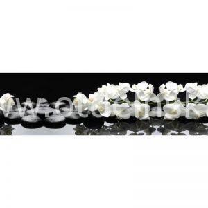 8627 Белые орхидеи, камни. Фартук для кухни пластиковый. 3 метр
