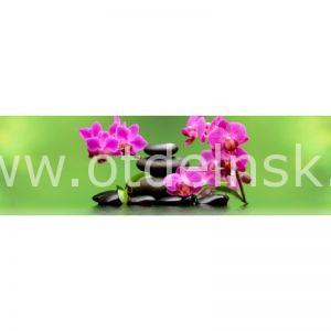 8710 Орхидеи, камни. Фартук для кухни пластиковый. 3 метра