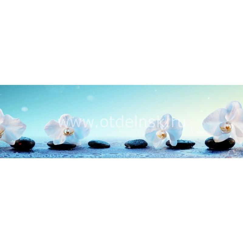 8803 Белые орхидеи. Фартук для кухни пластиковый. 3 метра