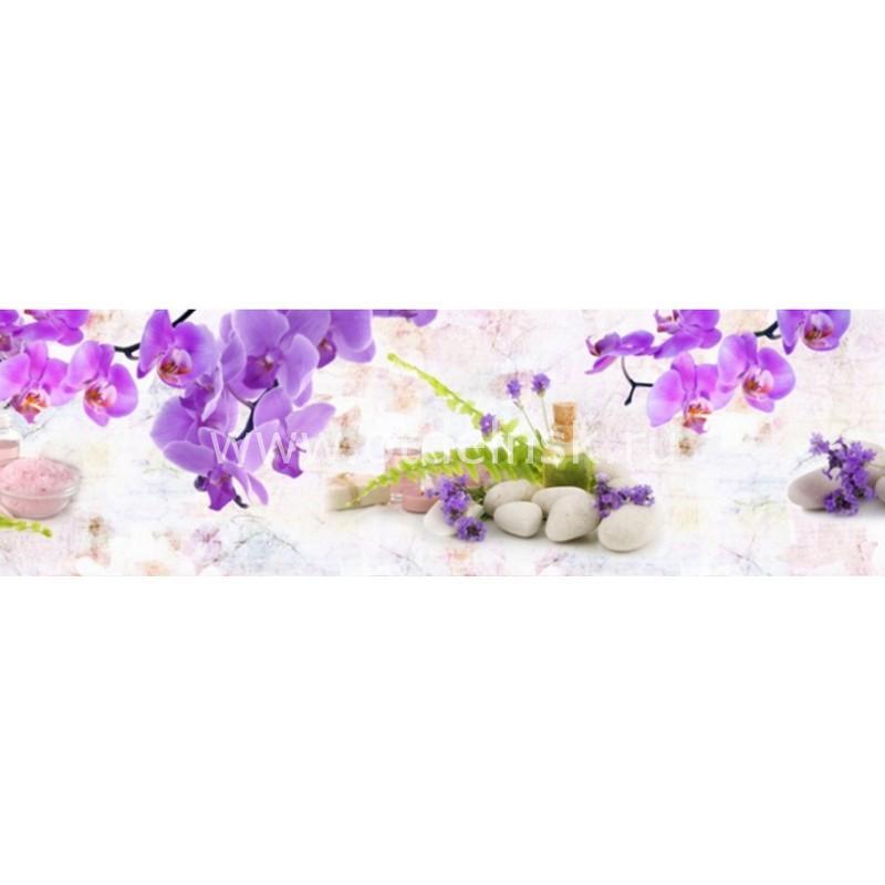 8939 Орхидеи, камни. Фартук для кухни пластиковый. 3 метра