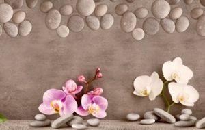 9042 Орхидеи, камни. Фартук для кухни пластиковый. 3 метра