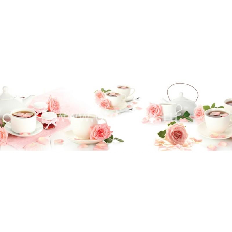 9136 Кофе, розы. Фартук для кухни пластиковый. 3 метра