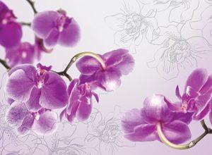 9196 Лиловые орхидеи. Фартук для кухни пластиковый. 3 метра
