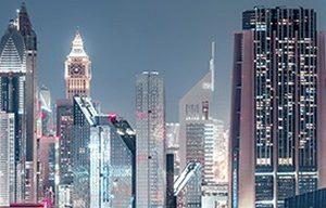 1424 Ночной Шанхай. СА. Фартук для кухни пластиковый. 3 метра