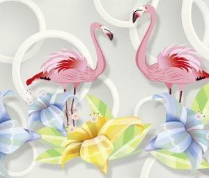 Фартук из ХДФ для кухни. 10286 Фламинго.