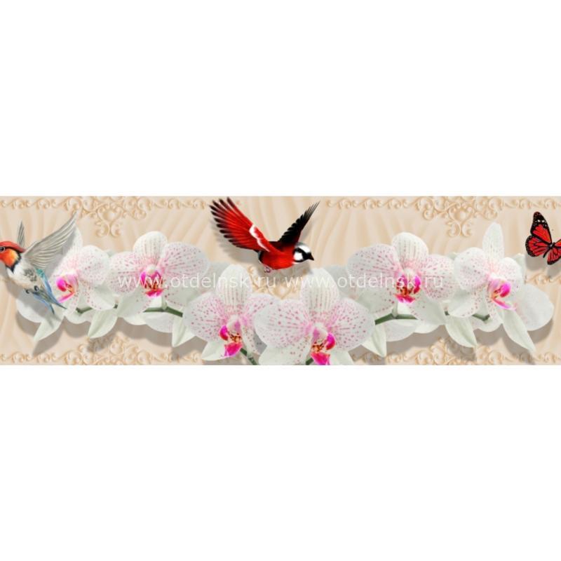 Фартук кухонный ХДФ. 10466 Птицы и орхидеи.