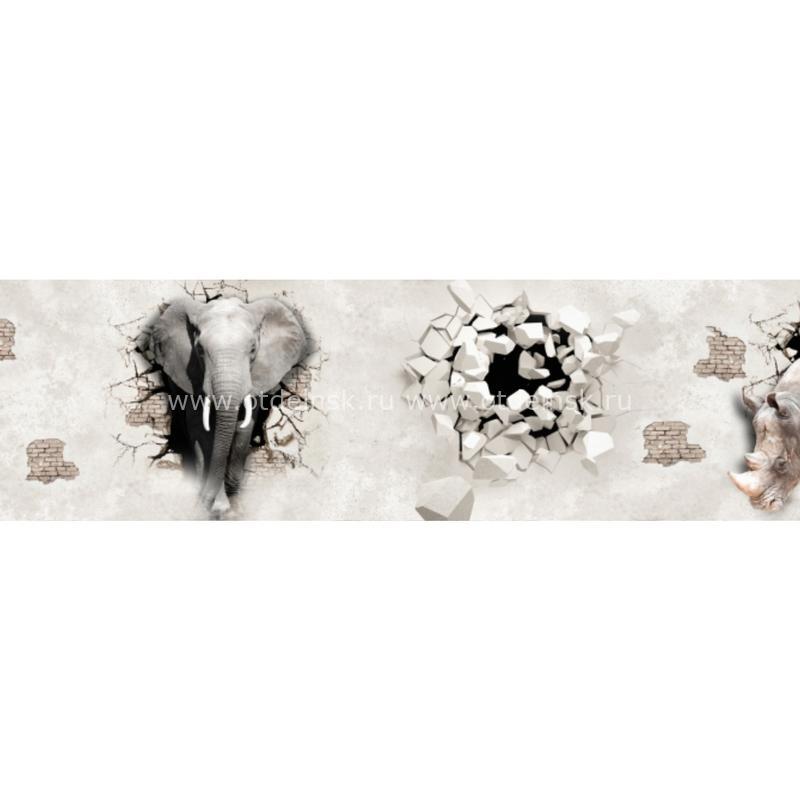 Панель фартук из ХДФ. 10467 Слон и носорог.